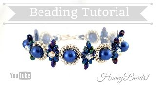 Beginners Bracelet Dear Diamonds *(4)* Beading Tutorial by HoneyBeads1 (with superduo beads)