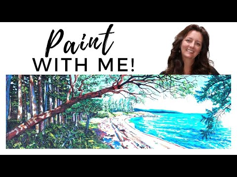 How Paint the ocean Painting Technique Ocean Seascape and Tree Painting Tips