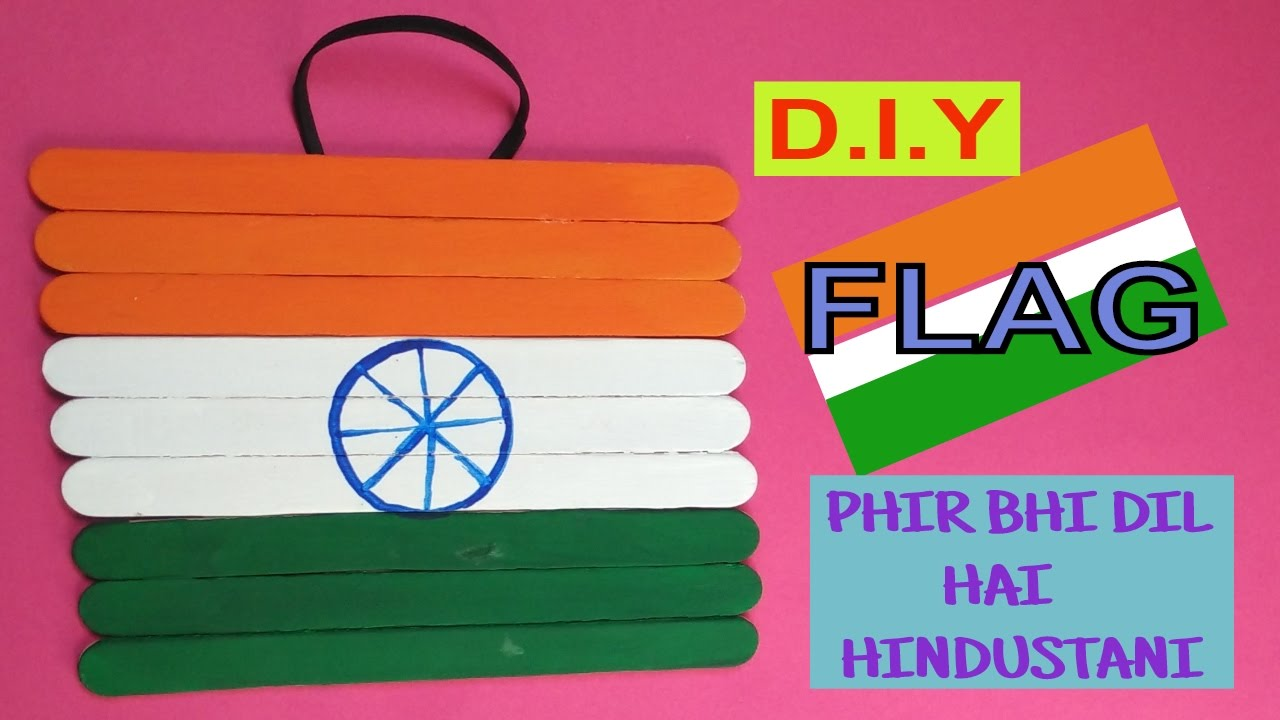 Flag With Ice Cream Sticks Popsicle Stick Craft Republic Day