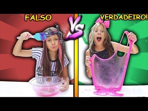 VERDADEIRO vs FALSO  ( REAL vs PRANK SLIME CHALLENGE!!! ) #2
