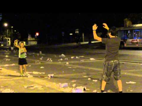 Playing football with market garbage in Rome, Italy