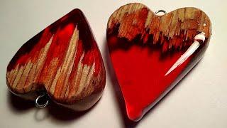 Heart pendant from resin