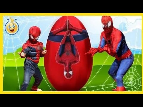 GIANT SPIDERMAN EGG SURPRISE TOYS OPENING with Batman vs Superman Challenge in f  Toys Review & Kid