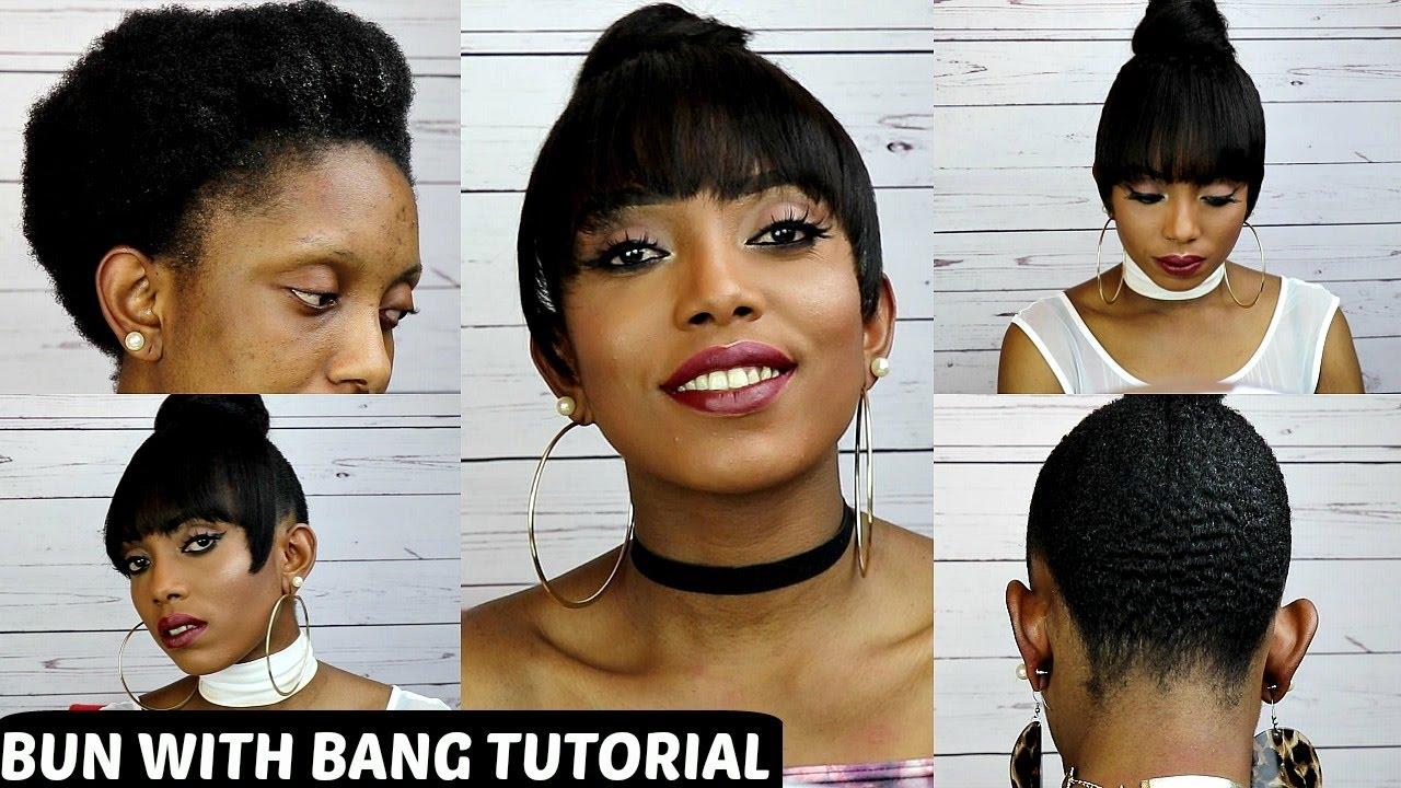how to faux bun with bang tutorial on short natural hair no
