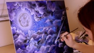 ASMR Painting a Cloudy Indigo Sky