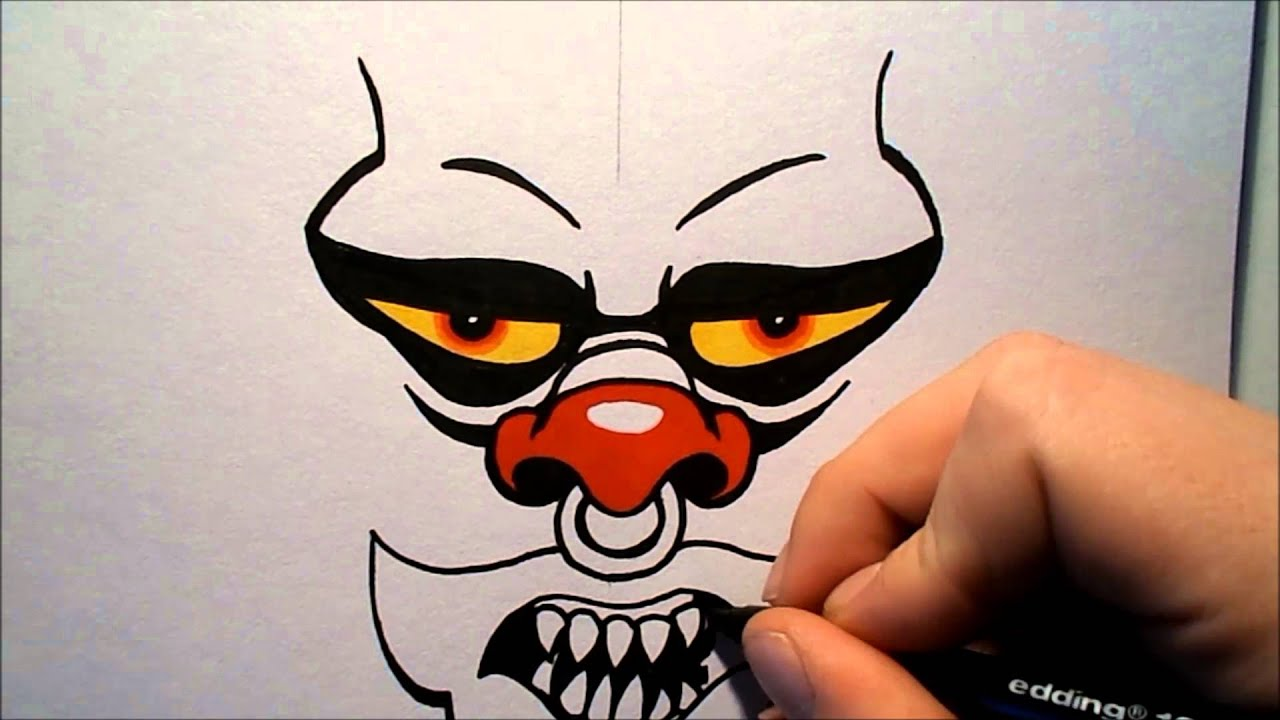 Scary Clown Drawing: How To Draw An Evil Clown V