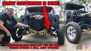 Front Suspension is done! Lifting with Wagon Springs & Ball Joint Spacers. Aces High Gasser Ep. 7