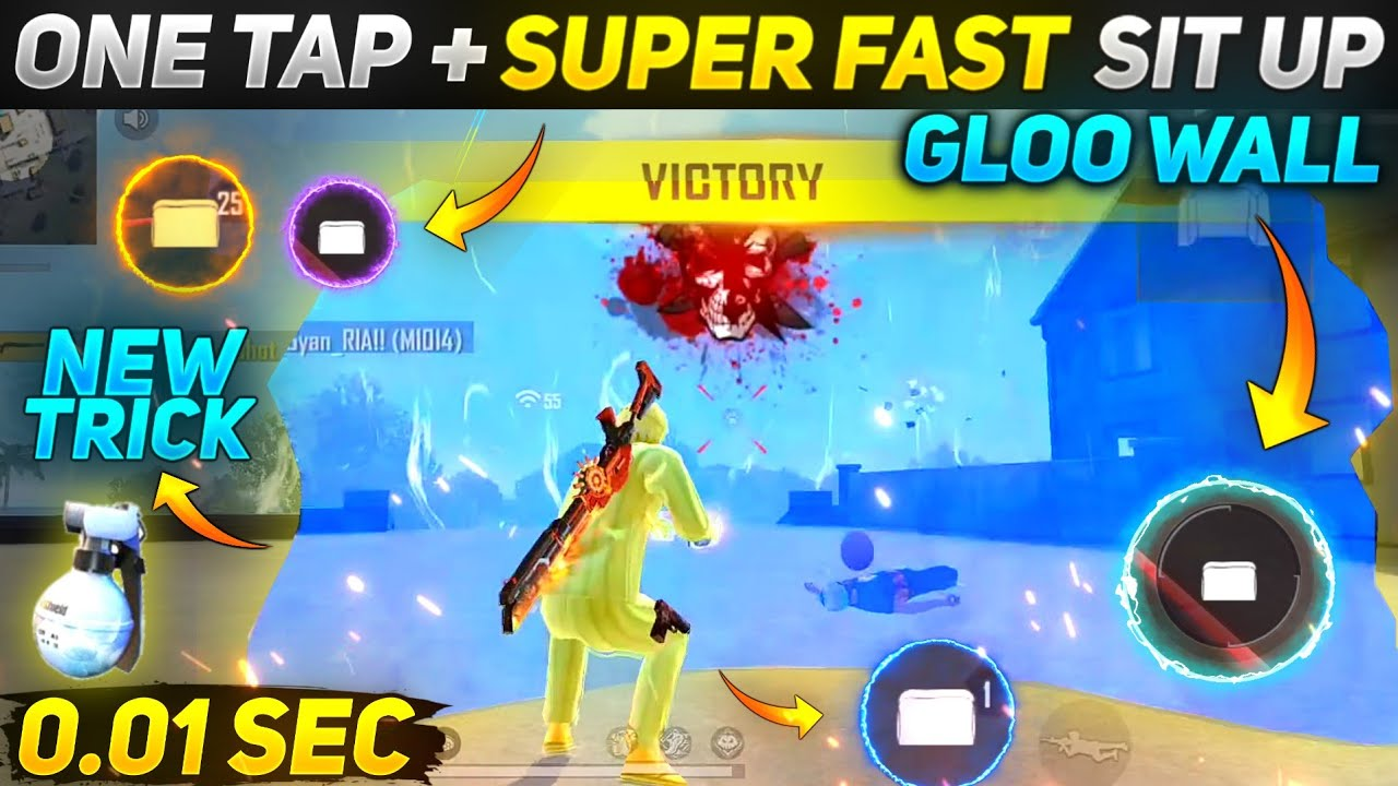 Free Fire One Tap + Super Fast Sit Up Gloo Wall Trick   One Tap Headshot Trick  Fast Gloo Wall Trick