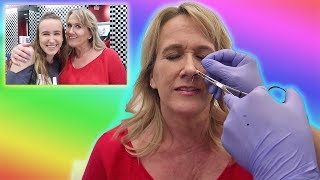 DAUGHTER CONVINCES MOM TO GET PIERCED!!