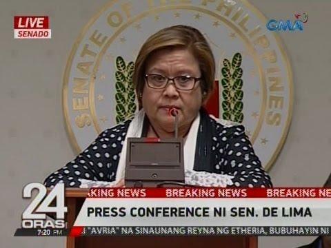 24 Oras: Sen. Leila de Lima presscon