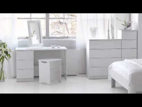 Alpine white high gloss bedroom furniture youtube for White high gloss bedroom furniture