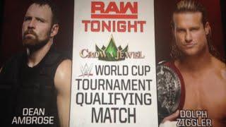 WWE Raw October 15 2018 match result: Dolph ziggler vs. Dean ambrose