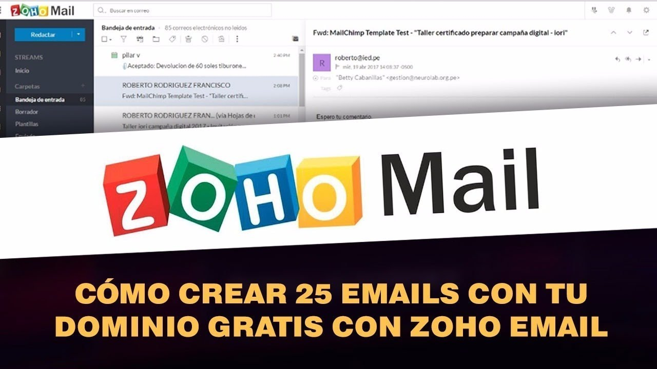 Como crear varias cuentas de correo en ZOHO MAIL desde un correo ...