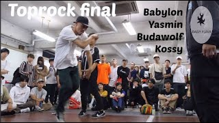 Final. Kossy vs Bgirl Yasmin vs Babylon vs Budawolf. Toprock battle. 狩人JAM (Hunter Jam) 2018