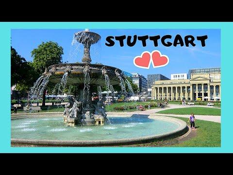 STUTTGART, the magnificent 18th century FOUNTAIN of SCHLOSSPLATZ (PALACE SQUARE)