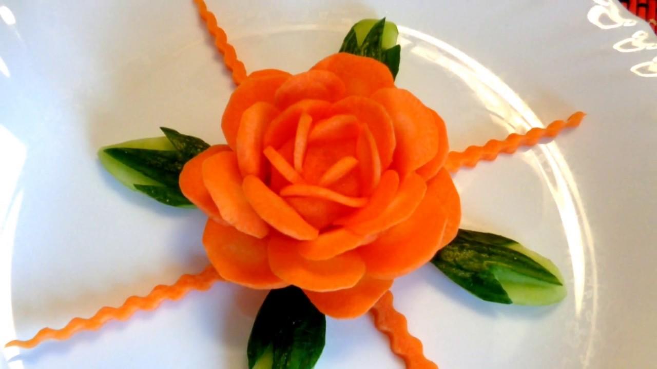 How to make carrot flower cucumber design leaf