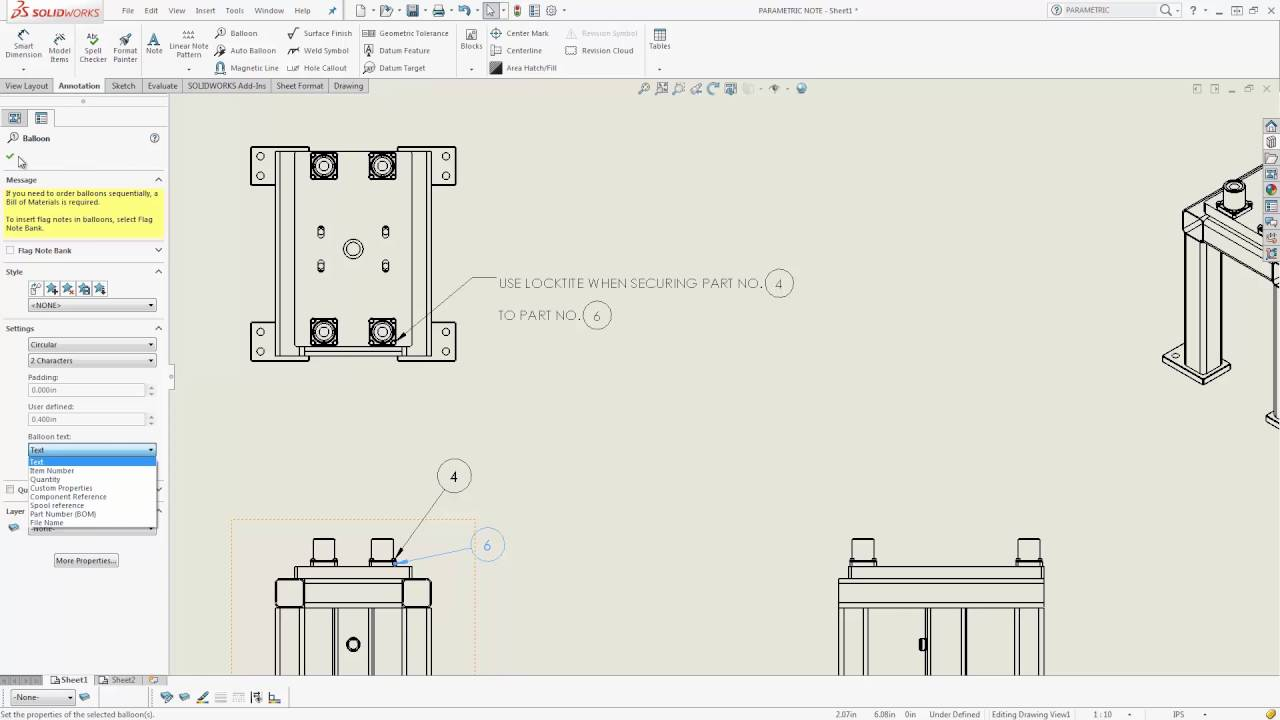 Solidworks Adding Drawing Annotations To Notes Youtube