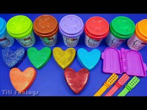 Making 3 Glitter Ice Cream From 6 Glitter Play Doh Hearts   Big Doraemon Surprise