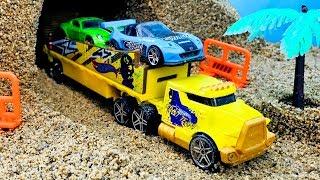 Carritos,  Autos y Camiones para Niños - Construcción de Puentes con Arena Kinetica