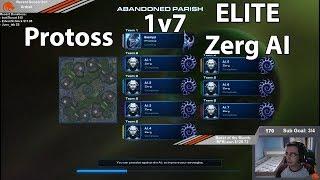 StarCraft 2: Protoss 1 vs 7 Zerg ELITE AI !!!