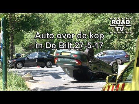 Auto over de kop in De Bilt 27-05-17 ROADTV.nl