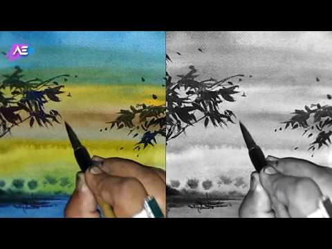 watercolor painting landscape | quick transparent watercolor demonstration | Art Explain | EP57-S1
