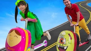 Download Emma Pretend Play w/ Luggage Suitcase Scooter Ride On Toy Mp3 and Videos