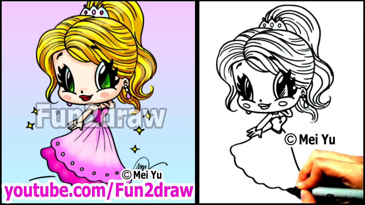 Prom Girl In Beautiful Dress How To Draw People  Cartoon Tutorial  Youtube
