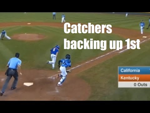 How And When Catchers Should Back Up First Base In Baseball Youtube