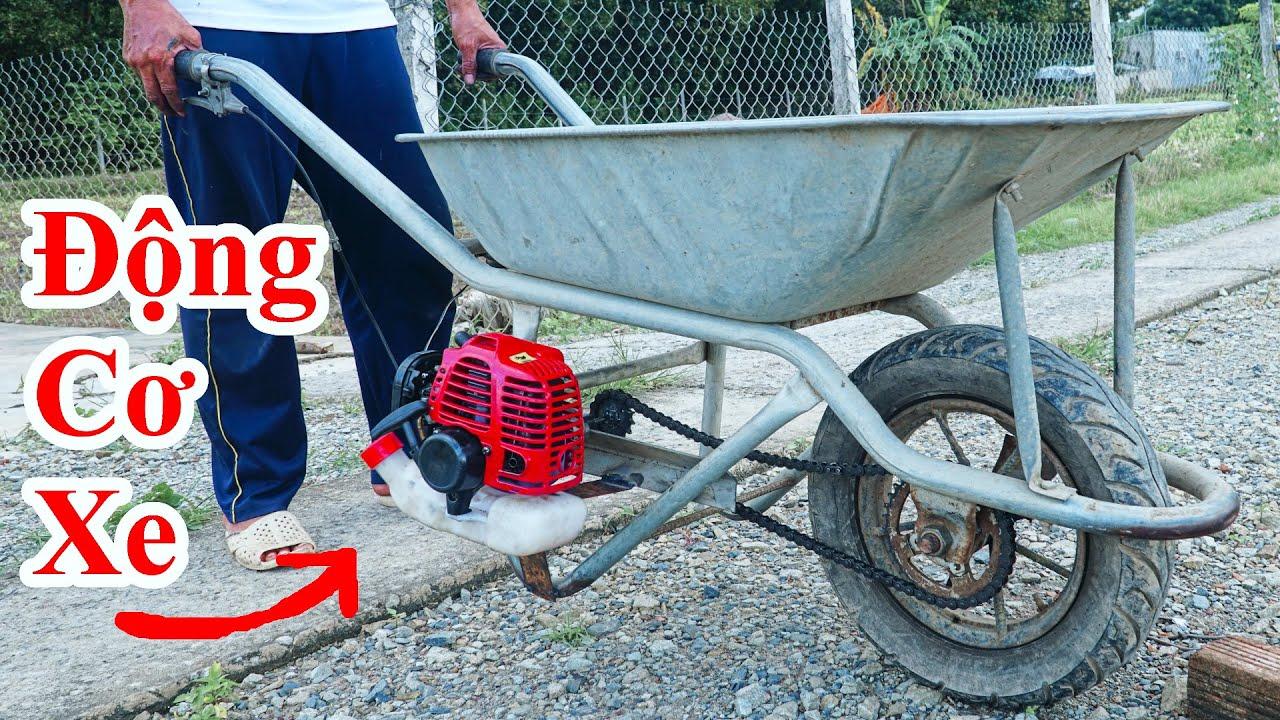 Cách Chế XE RÙA Có Động Cơ Máy Cực Hay / Hướng Dẫn Gắn Động CƠ Máy Phát Cỏ Vào Xe Rùa . Wheelbarrow