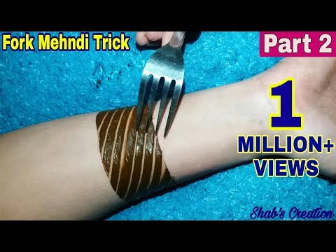 Apply Mehndi Design with the help of Fork | Fork Mehndi Trick for Easy and Simple Mehndi Design