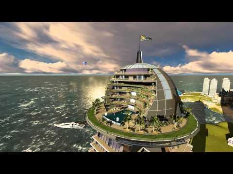 Futuristic Sky-Tower Internal Rain Forests + 360° Summit Hotel