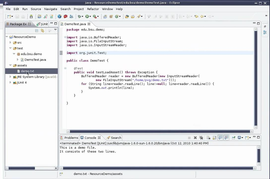 Including a file asset in a Java Eclipse project