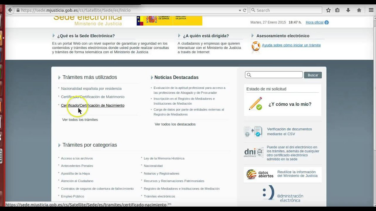 Formación online: Ministerio de Justicia. Solicitud del certificado ...