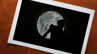 تعليم الرسم للمبتدئين رسم بنت مع قمر رسوم تعبيرية بالرصاص خطوة خطوة How To Draw a Girl With The Moon