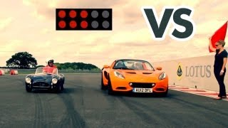 Car Battle: AC Cobra Pocket Classics vs Lotus Elise S(This week's Car Battle pitches a half-scale AC Cobra against a full-size, supercharged Lotus Elise S in a track race. The winner? Subscribe to Car Throttle: ..., 2013-09-04T20:10:42.000Z)