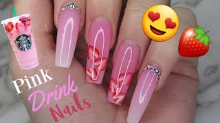 Strawberry Pink Drink Gel Nails Tutorial    Ombre Nails With Crystals