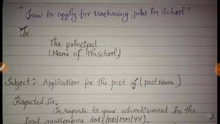 How to write application for teaching JOB