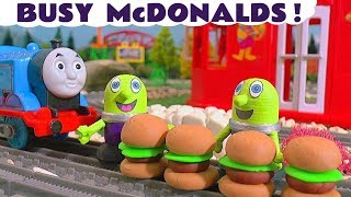 McDonalds Drive Thru Pretend Play Food busy with Thomas and Friends Trains and funny Funlings TT4U