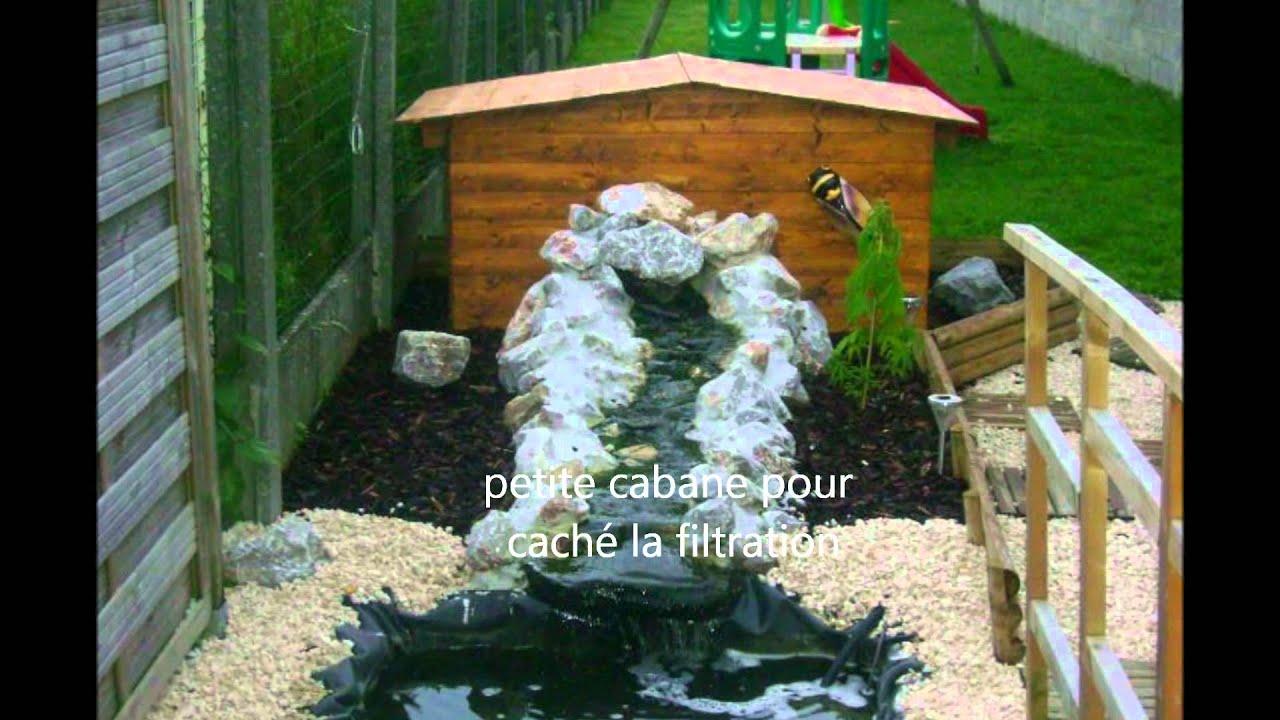 Mon bassin fait maison avec filitration voir youtube - Bassin poisson cascade creteil ...