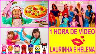 ♀ LAURINHA e HELENA como fazer SLIME , babá por um dia e vídeo para crianças 1 HORA DE VÍDEO
