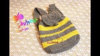 كروشيه شنط ظهر بخيط الكليم - التيشرت - قناة خيط وإبرة -  Crochet Backpack with T-Shirt Yarn