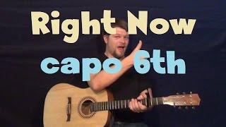 Right Now (Rihanna) Easy Guitar Lesson Capo 6th - How to Play Tutorial