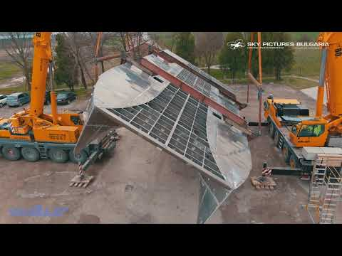 Time  lapse and drone ship building catamaran video  aerial service Bulgaria  Ship drone inspection