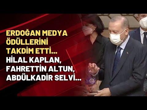 Erdoğan medya ödüllerini takdim etti... Hilal Kaplan, Fahrettin Altun, Abdülkadi