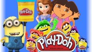 Play doh with Sofia the first Плэй до и София прекрасная Рапунцель Dora