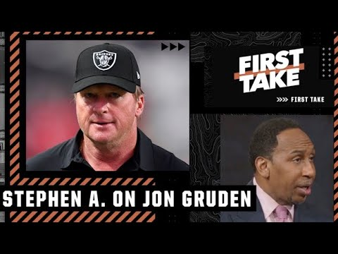 Stephen A. reacts to Jon Gruden resigning as the Raiders' head coach | First Take