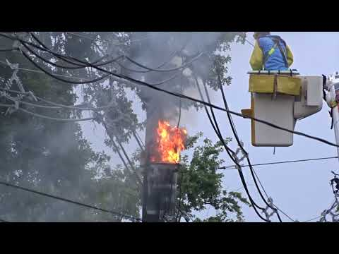 GREEN BROOK NEW JERSEY TRANSFORMER FIRE 9/7/18 SOMERSET COUNTY PSEG GOES TO WORK