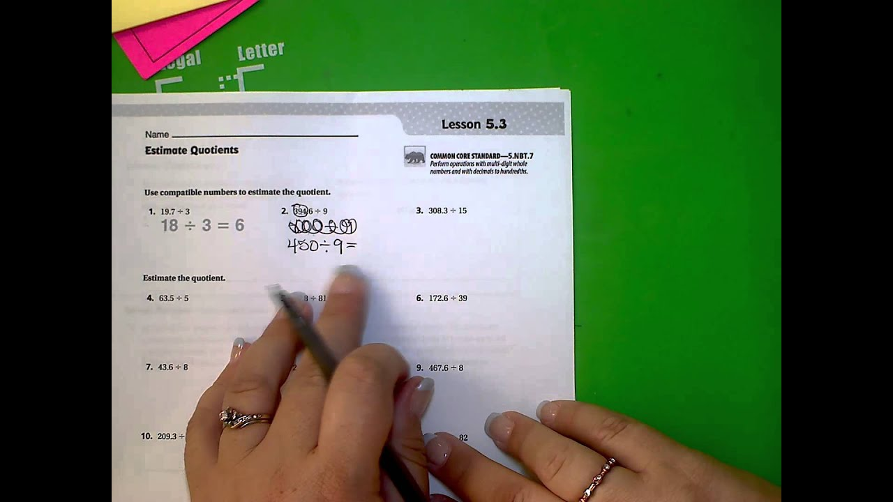 6th Go Math! Unit 1, Lesson 5.3 - YouTube