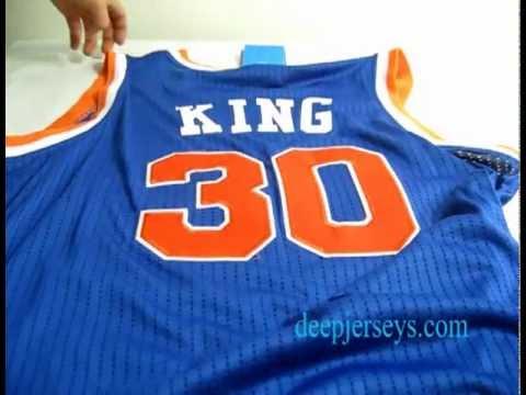 Wholesale NBA New York Knicks #30 King m&n blue Revolution 30 swingman Jerseys